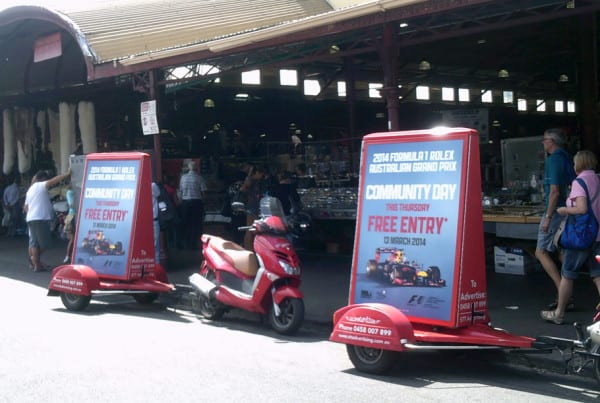 Scooter-Advertising---F1-Grand-Prix---Queen-Vic-Markets